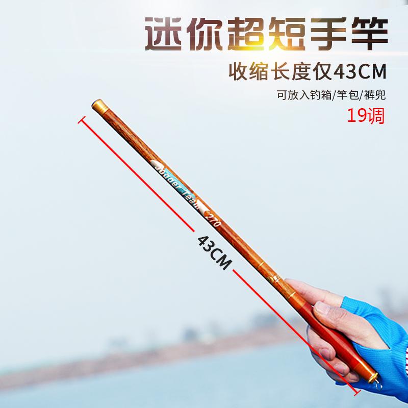 袖珍钓鱼竿手竿超短节迷你小鱼竿便携收缩43cm碳素超轻超硬溪流竿