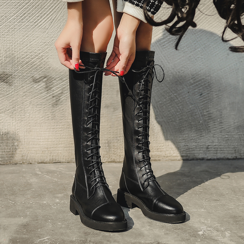 2020 new skinny boots womens elastic inner heightening middle leather boots locomotive boots long boots below knee long boots Knight boots