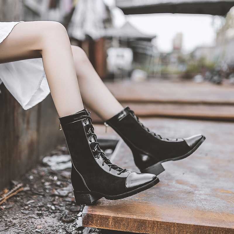 Ankle boots short boots spring autumn single boots versatile British pointed toe thick heel womens shoes 2019 new winter Martin boots
