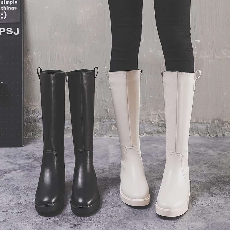 Womens boots 2020 winter new side zipper Plush high cylinder Knights Boots