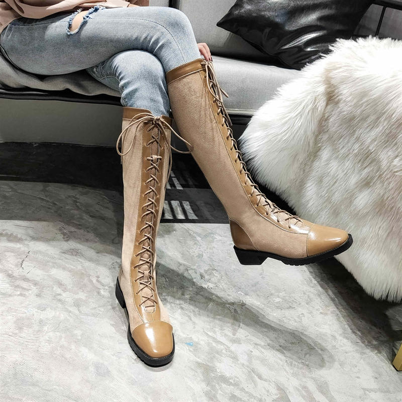 Knight boots womens lace up high boots autumn and winter 2020 new thick heel womens shoes long net red thin Martin boots