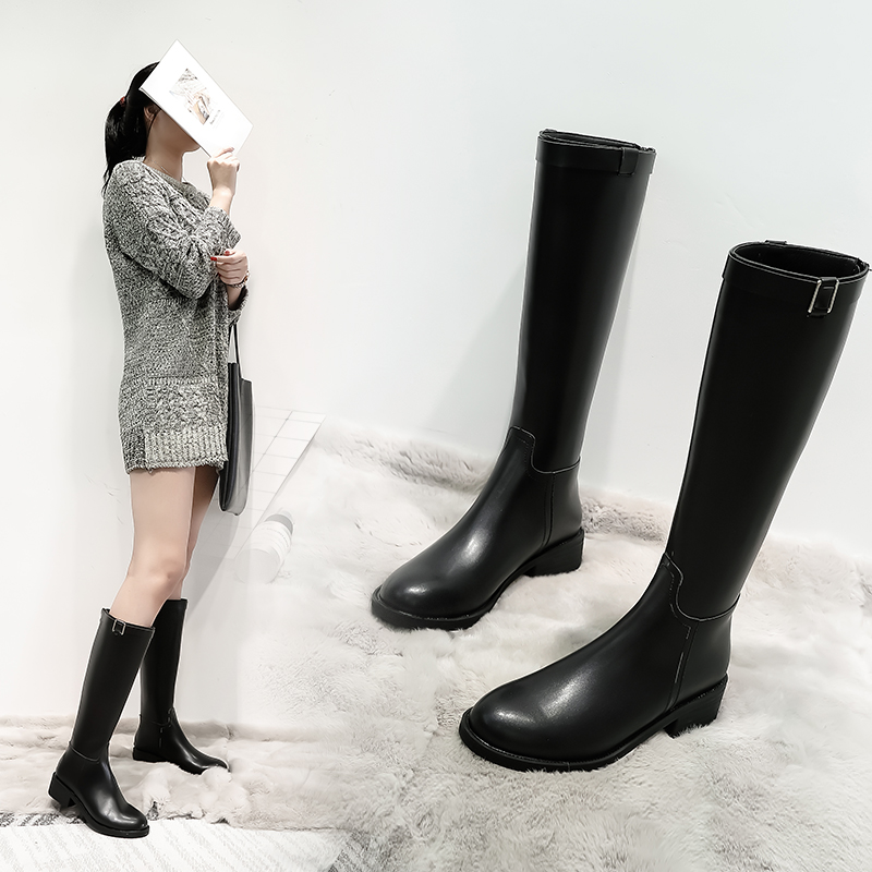 Autumn and winter new net red boots, leather boots, womens long boots, single boot, thick heel, plush high boots, Knight boots, long boots, army boots, Horse Boots