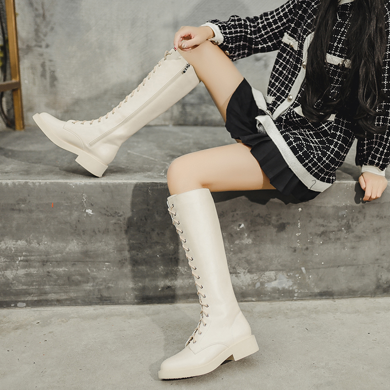 Net red boots womens 2020 new autumn and winter lace up high tube thick bottom knee length boots small Knight boots