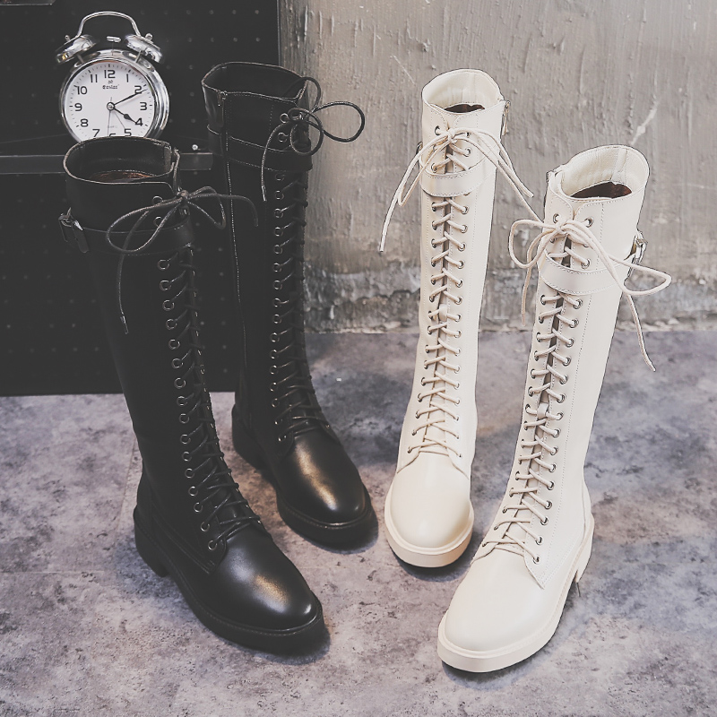 Winter flat bottomed womens high boots below knee rice white net red boots Korean Knight boots show thin middle heel boots Martin boots
