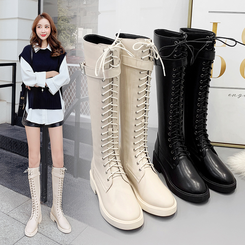 Womens boots 2020 new autumn lace up high Martin womens boots below knee boots small Knight boots