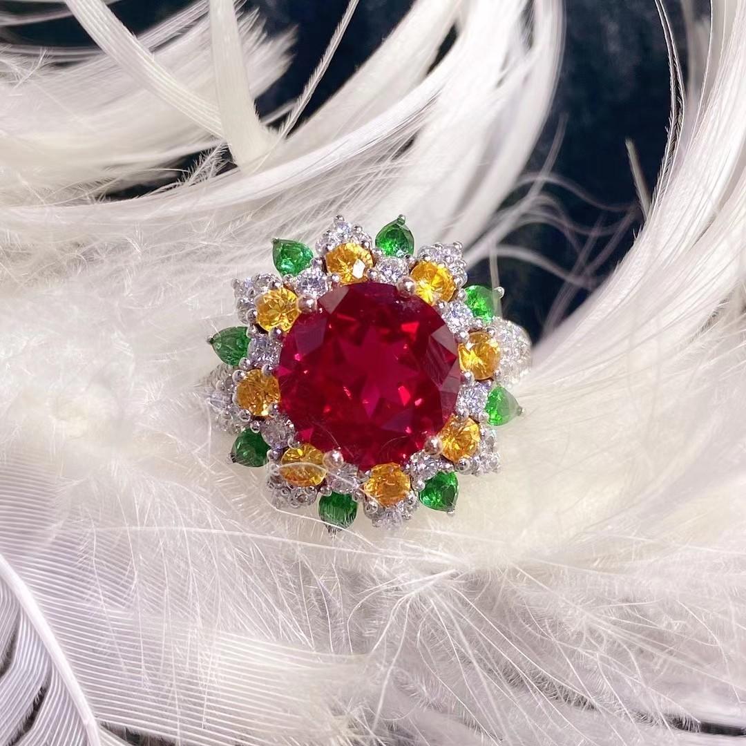 9K金培育红宝石女戒奢华欧美复古宫廷风绿钻黄钻戒指来图定制首饰
