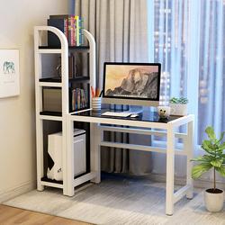 电脑台式桌 家用 现代简约 书桌书架组合 钢化玻璃学生电脑书桌子