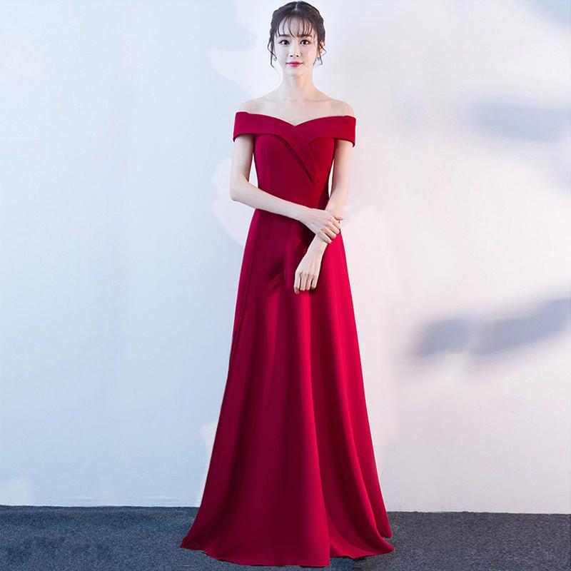 敬酒服新娘2020新款春夏季短款结婚礼服一字肩宴会订婚连衣长裙女