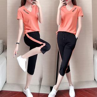 休闲运动套装 七分裤 新款 女V领短袖 宽松两件套 2020夏装 跑步服时尚