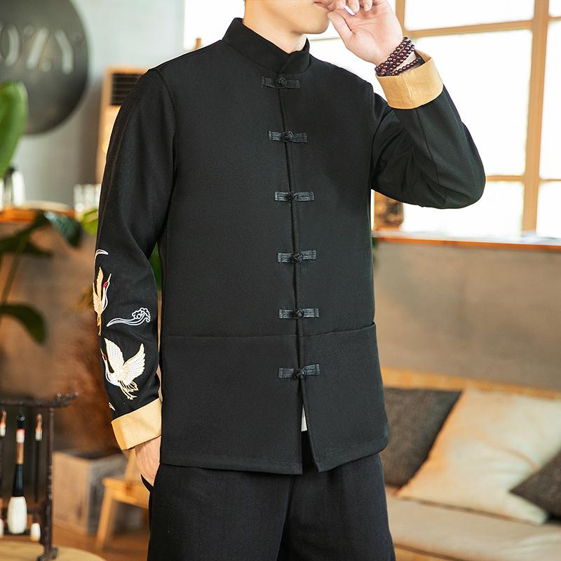 咖啡厅 中国风秋装手臂仙鹤刺绣翻袖夹克外套 A032/1602/100控128