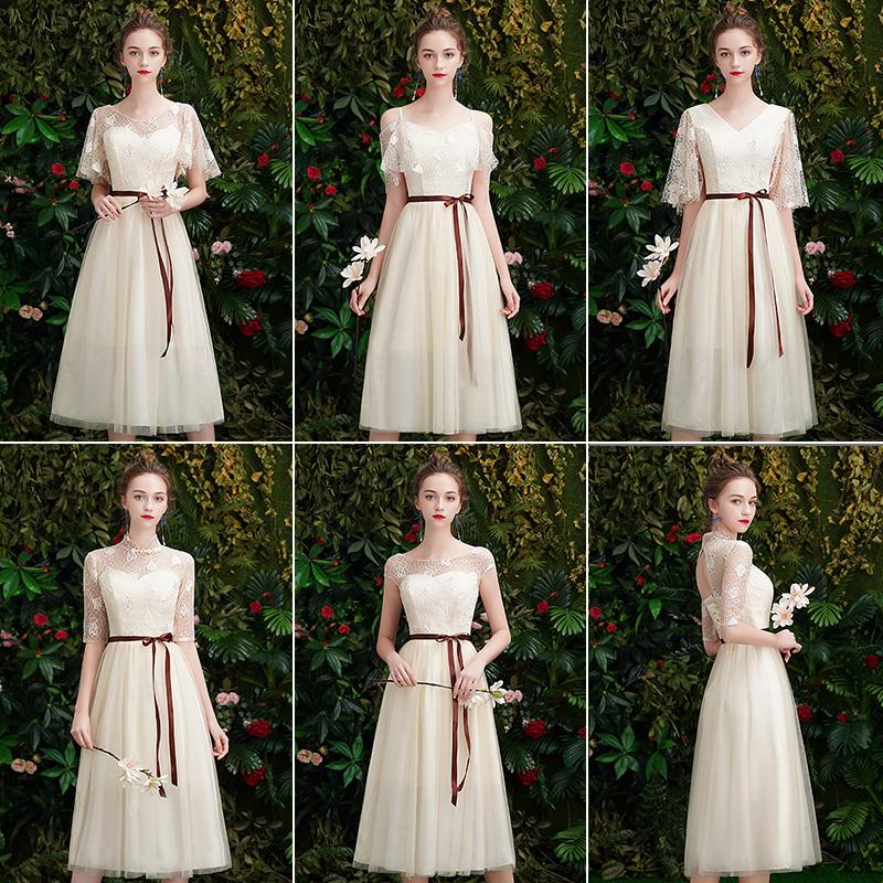 秋季仙气质姐妹裙香槟色婚礼伴娘服11月06日最新优惠