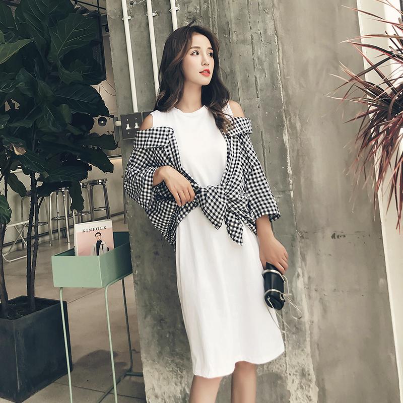 秋装新款时尚拼接格子衬衫假两件露肩连衣裙女韩版中长款T恤裙潮