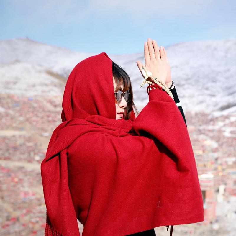 純色紅圍巾女秋冬西藏青海湖旅游拍照民族風圍巾超大保暖披肩披風