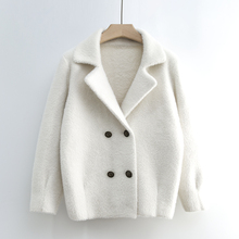 Mink wool short jacket women's new spring knitted cardigan in Korean version 2019 loose and thick visible thin jacket sweater