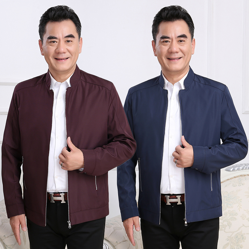 Mens zipper solid color jacket mens jacket spring and autumn stand collar middle-aged and young dad casual new thin coat