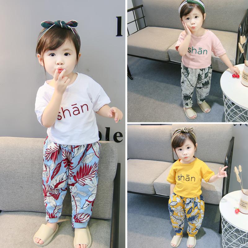 一岁女宝宝夏装童装2018新款女童纯棉T恤防蚊裤两件套小童套装潮