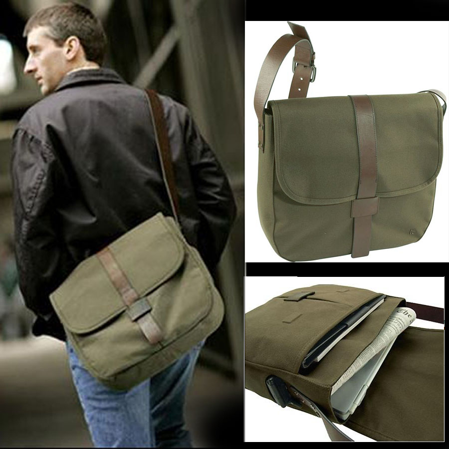 The first layer of pure cattle belt with canvas one shoulder retro messenger army green computer bag leisure bag official bag