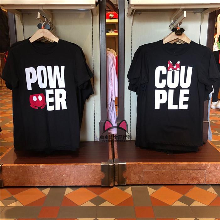 香港迪士尼乐园 米奇米妮COUPLE情侣装成人纯棉T恤卡通短袖