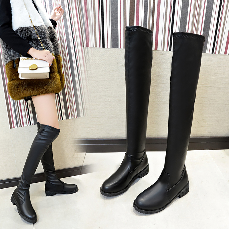 Over the knee boots womens flat bottom 2019 new autumn and winter net red boots thick heel high tube elastic thin womens Boots