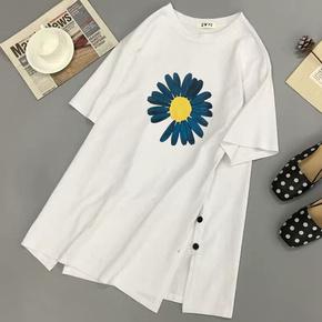 短袖t恤女2020年新款学生白色中长款春夏韩版大码宽松ins潮上衣服