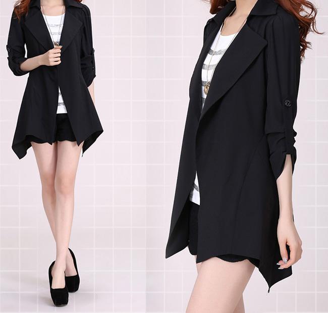 斤春秋装装开衫外套200韩版修身显瘦中长款大码女装休闲风衣薄款