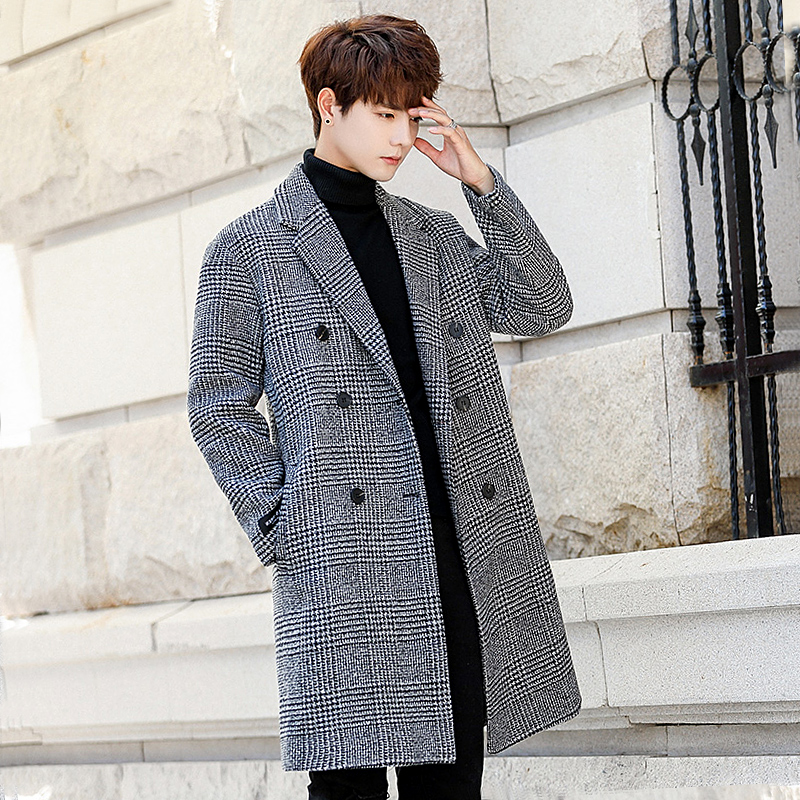 Woolen coat mens mid long Korean loose British fashion autumn and winter Plaid windbreaker thickened tweed coat