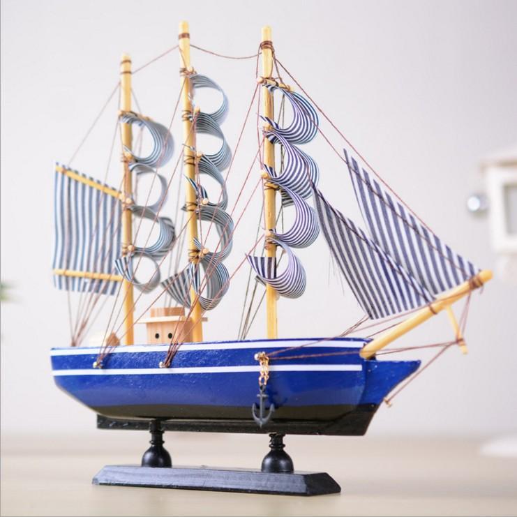 创意手工艺仿真木船地中海小帆船模型摆件一帆风顺家居装饰品礼品