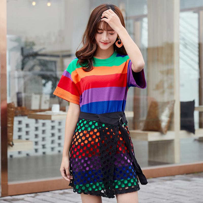 春夏装2020年新款套装女ins潮时尚小个子洋气收腰减龄彩虹连衣裙
