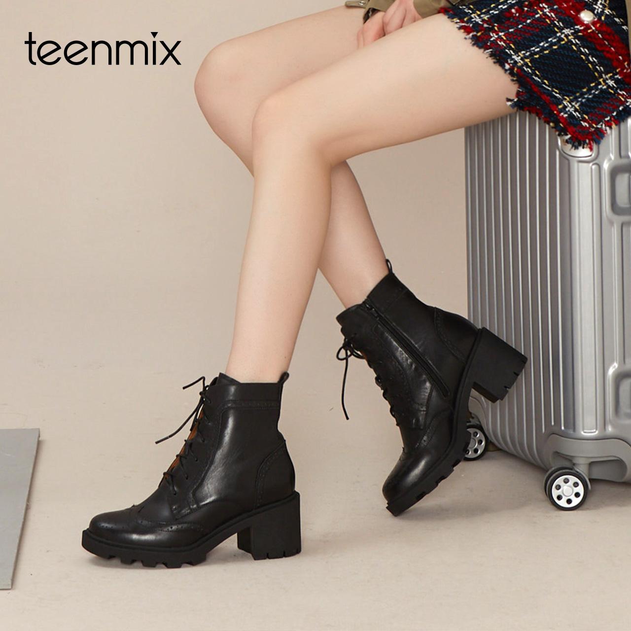 【淘宝预售】天美意英伦风马丁靴女粗跟中靴2018冬季新款CFE42DZ8