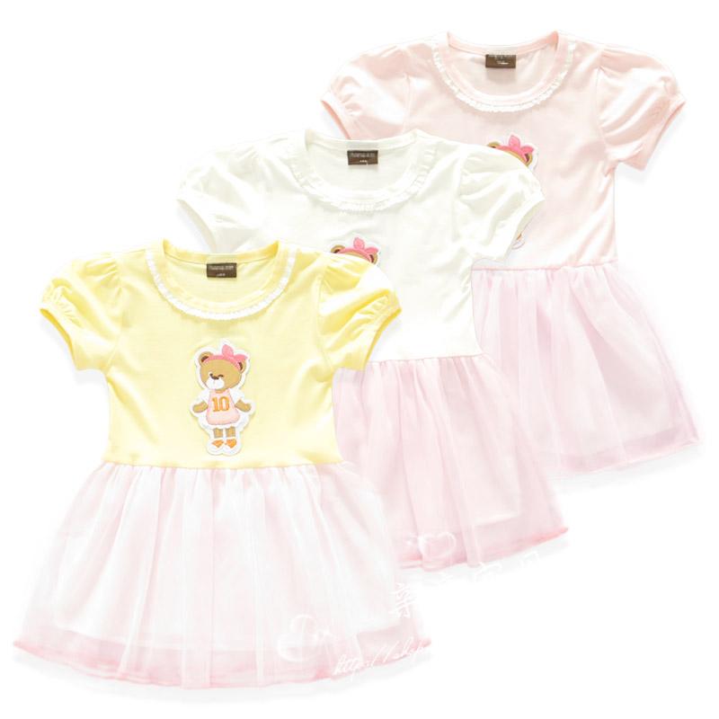 Girls summer one-piece dress little bear girls skirt pure cotton skirt short sleeve dress princess skirt