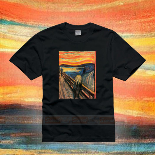 Famous painting Edward monk original classic fashion brand European and American art style oil painting art Cotton Short Sleeve T-Shirt