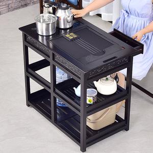 功夫茶桌家用小茶台实木茶车可移动边几水柜乌金石简约现代阳台小