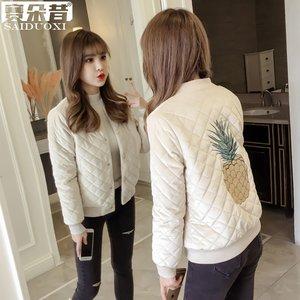 秋冬季女装小个子夹棉外套女短款小棉袄金丝绒夹克加厚棒球服棉服
