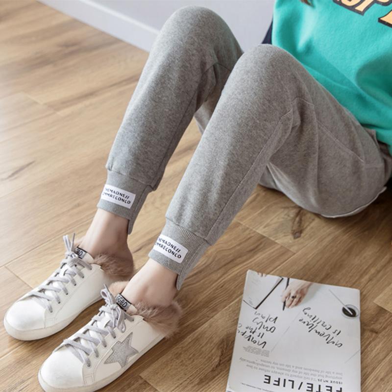 纯棉灰色宽松冬季加绒束脚裤哈伦裤限50000张券