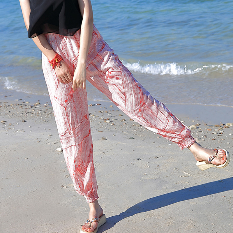 Thai Summer Bohemian Seaside Resort Chiffon Hallen Pants Ladies Beach Pants Loose Lantern Pants Long Pants