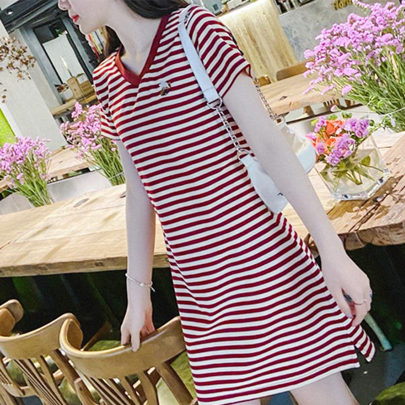 新款夏季休闲运动中长款V领短袖女大码显瘦条纹POLO连衣裙棉A字裙