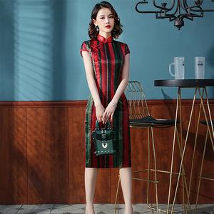 老上海复古条纹旗袍女短款日常可穿国潮改良民国风2020新
