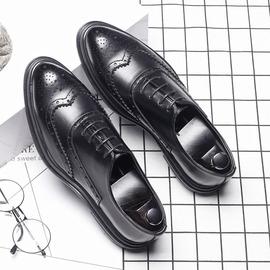 布洛克皮鞋男韩版男士休闲商务正装伴郎英伦内增高黑色新郎结婚鞋