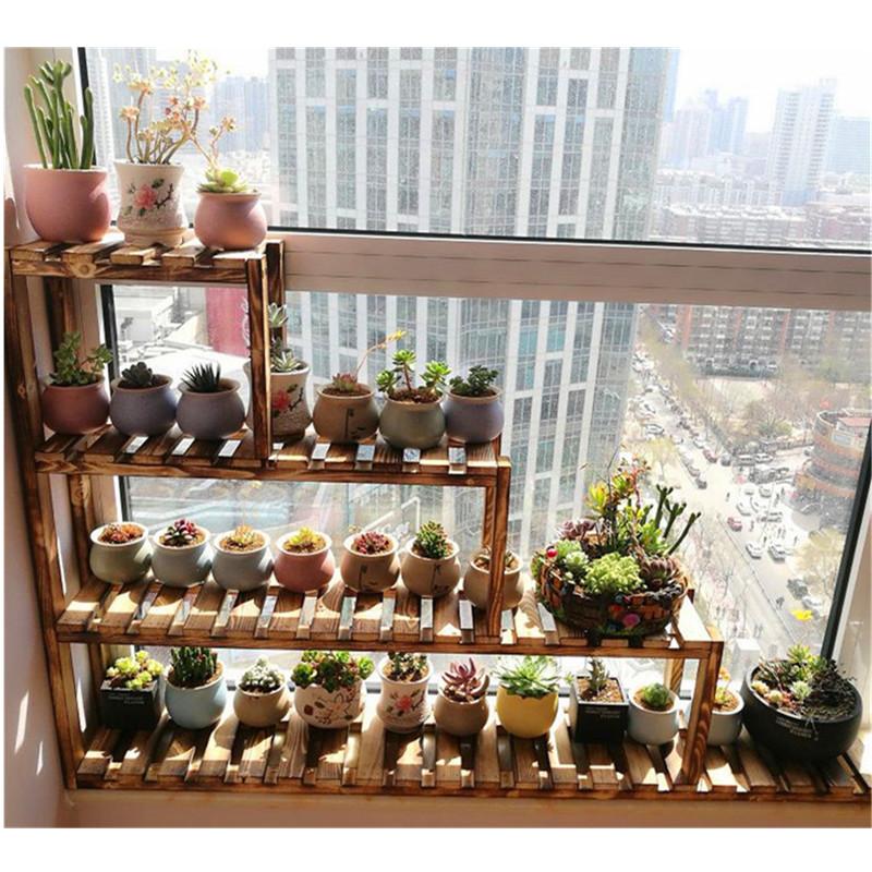 窗台花架实木多层阳台客厅室内花盆阶梯飘窗多肉架子落地式置物架
