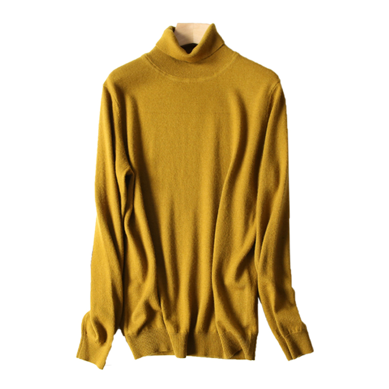 Harajuku style turtleneck mens Korean version 100% woolen sweater with thick and handsome knitwear backing for autumn and winter fashion