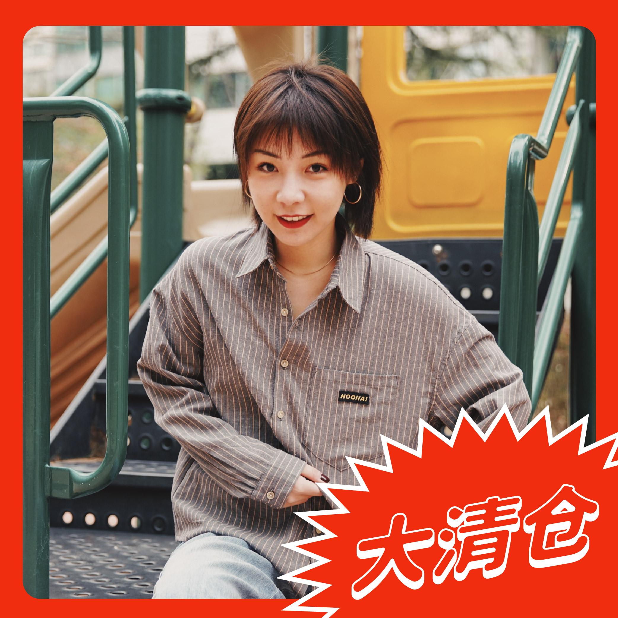 Hoona original design shirt spring and autumn loose cotton hemp thin striped shirt for men and women