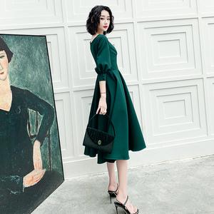 墨绿色宴会气质高端连衣裙晚礼服