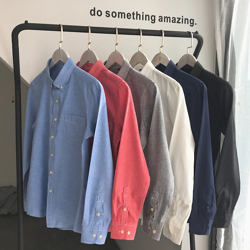 Summer mens Short Sleeve Shirt casual slim fit solid color youth white lining clothing thin Korean version work long sleeve fashion inch