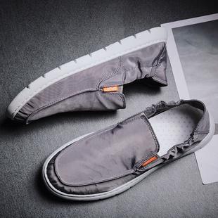 夏季透气防水一脚蹬帆布鞋男