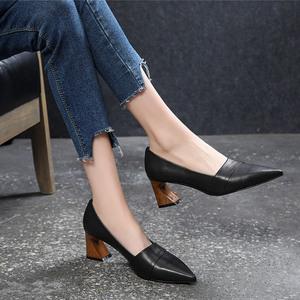 高跟鞋女尖头2019新款春季百搭真皮粗跟小皮鞋2020春款中跟单鞋女