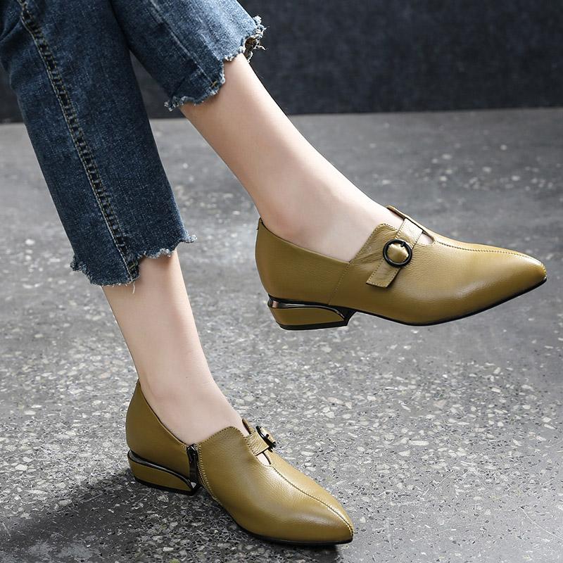 真皮单鞋女平底2019新款低跟尖头粗跟春款小皮鞋女鞋春秋2020春季