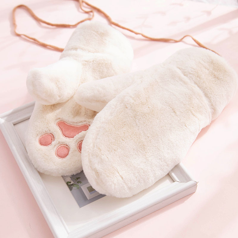 Soft sister gloves female winter cute cartoon Plush thickened student gloves cotton Plush cycling cold proof and warm Korean version