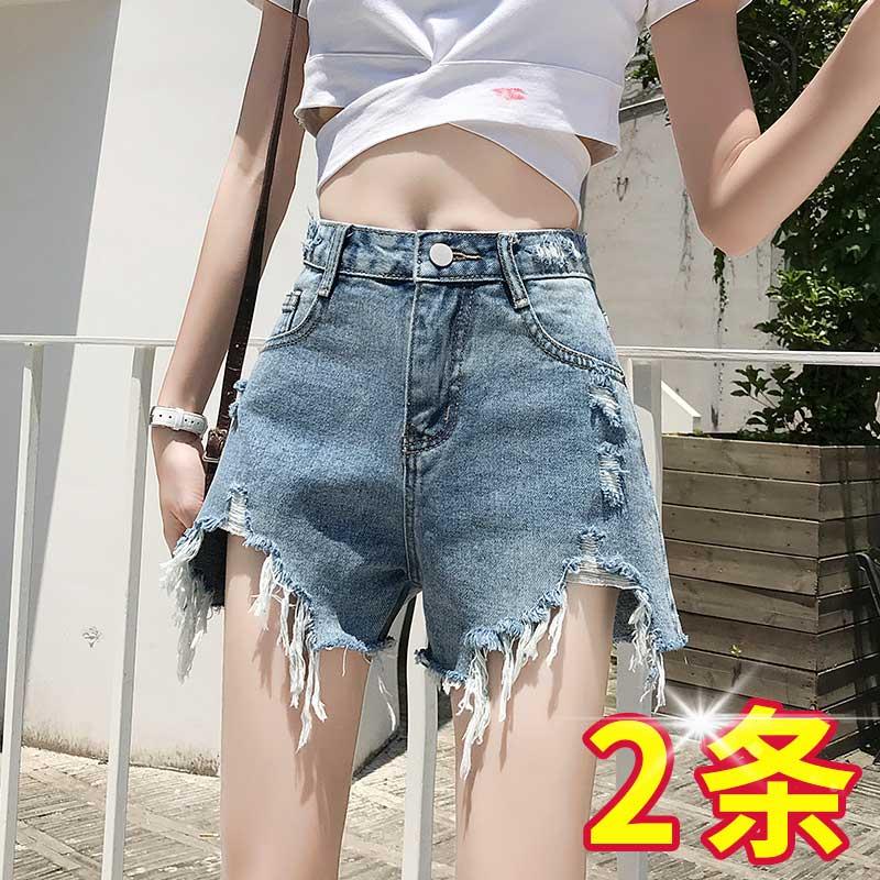 泫雅同款牛仔短裤女高腰宽松2020春夏季新款显瘦韩版a字热裤潮