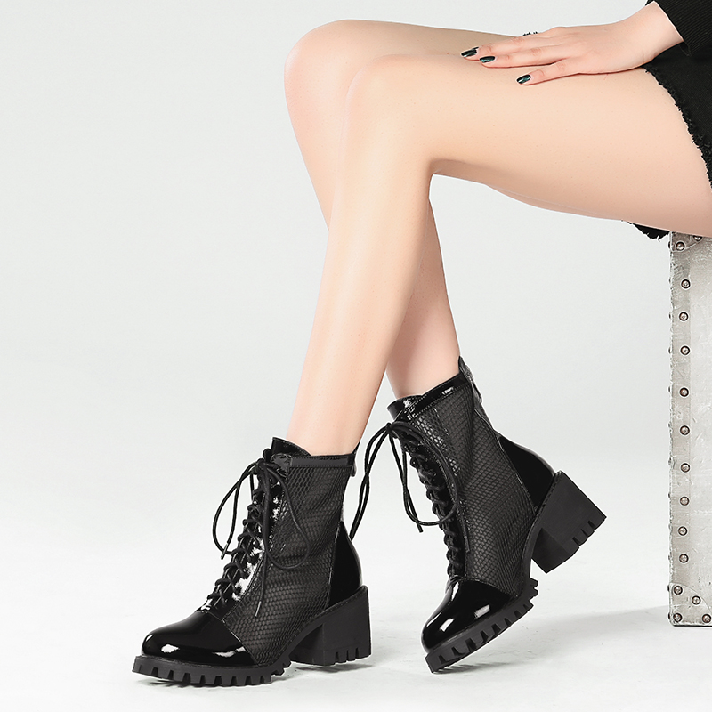 Leather short boots womens thick heel summer 2020 new back zipper Martin boots breathable mesh hollow short boots