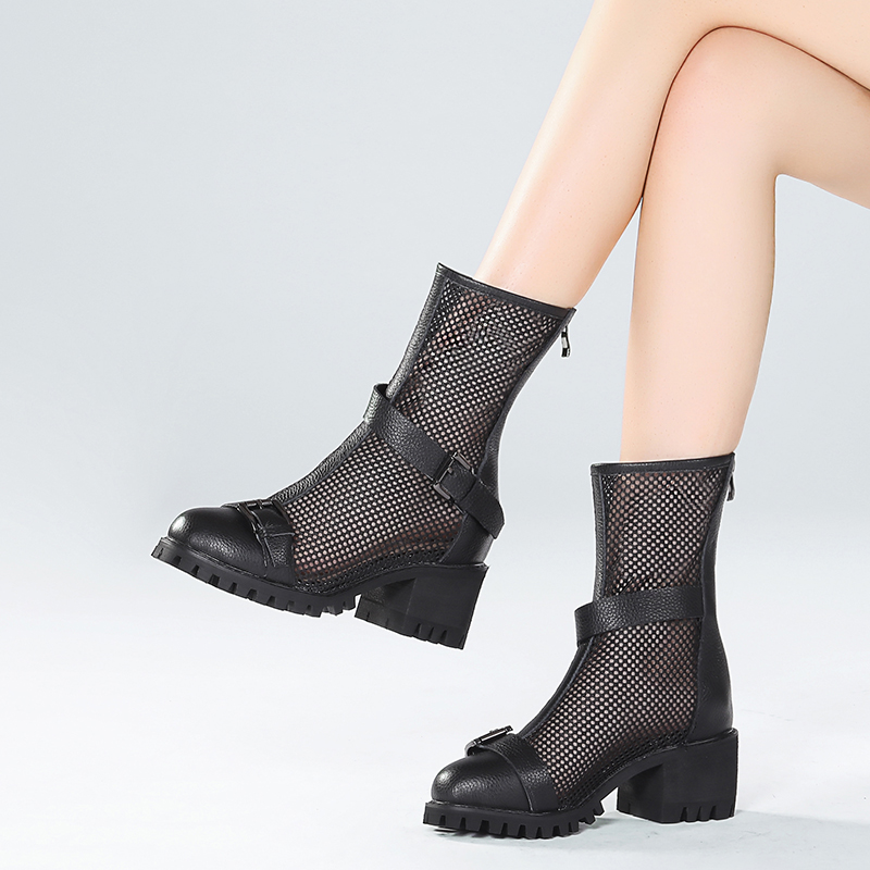 Hollow short boots womens thick heel new summer 2020 back zipper Martin boots breathable mesh short tube boots Rome